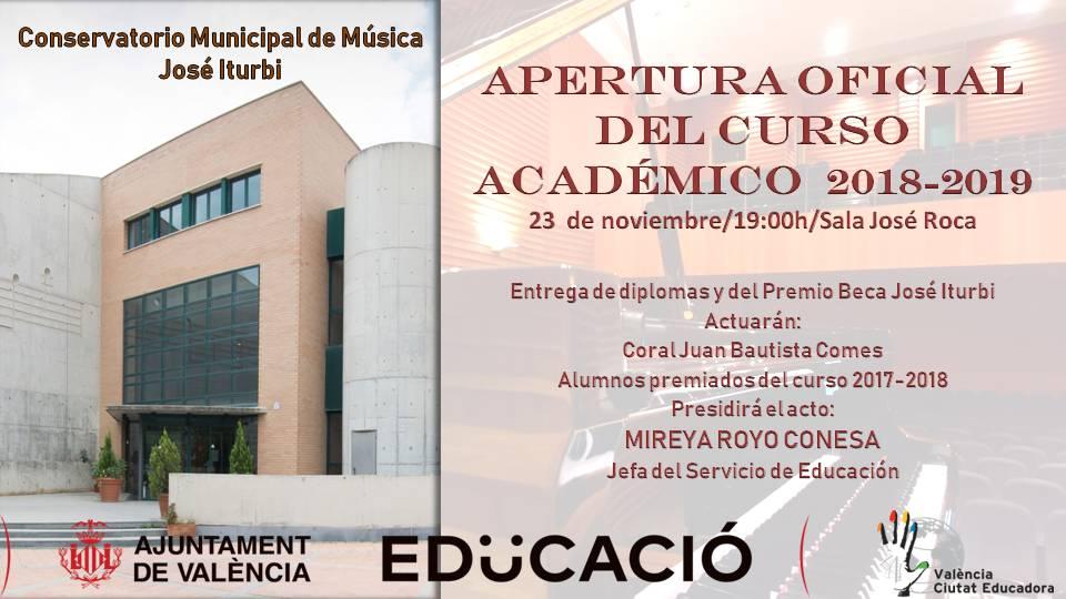 Conservatori Municipal de Música José Iturbi. Obertura Oficial del Curs Acadèmic 2018-2019